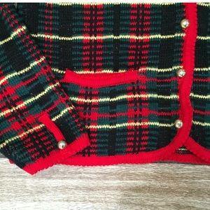 Vintage Plaid Cardigan Sweater Medium